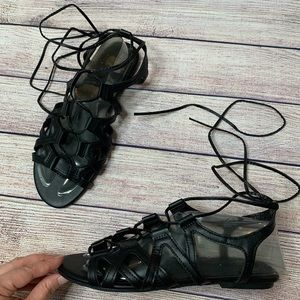 Faded Glory gladiator lace up sandals black